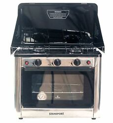 Stansport Stainless Steel Outdoor Stove and Oven Black Stainless steel