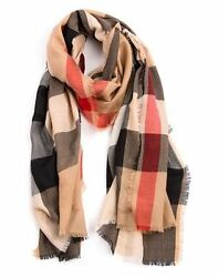 BURBERRY Woman's Camel Heritage Check 100% Cashmere Lightweight Scarf
