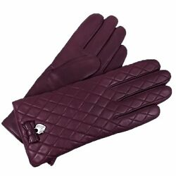 COACH Woman's Sherry Plum Purple Quilted Cashmere Lined Bow Gloves F83722 6.5 A