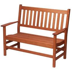 Wood Garden Bench Red Grandis Slatted Seat Design 2 Seater Weather Resistant