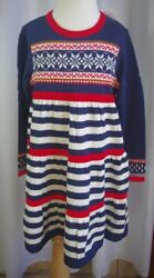 Girls Hanna Andersson Up North Sweater Dress-110-56X-NWT-Sold Out!-Striped