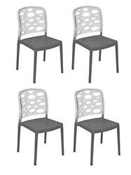 Tensai Bubble Chair -  Durable Plastic in Anthracite With Plastic Legs - Set of