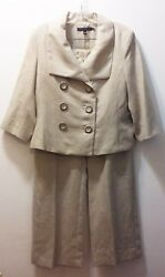 Robert Kitchen Canada Women#x27;s 2 Piece Pant Suit Tan Size 8 100% Linen $29.99