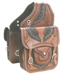 Western Trail Hand Tooled Brown Leather Horse or Motorcycle Saddle Bag Bags $95.50