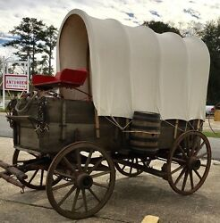 Horsedrawn Covered Wagon Original Antique Western Decor Prop Sign