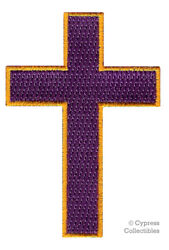 CHRISTIAN CROSS iron-on PATCH embroidered PURPLE GOLD CRUCIFIX JESUS BIKER new
