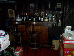 WOODEN BAR WITH TWO STOOLS - LOCAL PICK UP ONLY