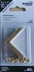 National N213-397 SOLID Bright Brass Corner Braces 1-12