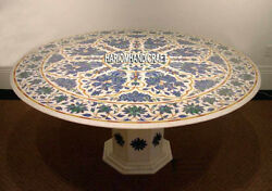 72'' Marble Lapis Floral Stone Dining Table Inlaid With Stand Patio Decor H3950A