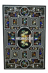 8'x3' Lapis Stone Bird Art Top Marble Dining Table Inlay Patio Decoration H3946A
