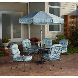 6 Pc Patio Dining Set Glass Table Chairs Outdoor Furniture Lawn 6 Piece Blue