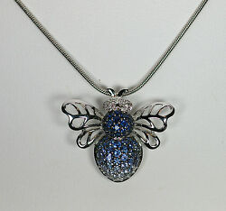 14K WHITE GOLD BLUE SAPPHIRE DIAMOND BUMBLE BEE INSECT NATURE OMEGA PENDANT $792.00