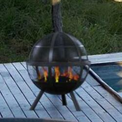 Spherical Steel Wood Burning Outdoor Fire Pit Wood Poker and Spark Screen