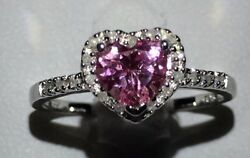 .925 Sterling Created Pink Sapphire and Diamond Heart Shaped Size 8 Ring NEW