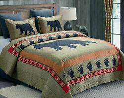 Rustic Cabin Lodge BLACK BEAR PAW Wildlife Animal Southwestern TFQK Quilt Set