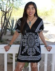 BLACK WHITE BANDANA BOHO MANDALA HIPPIE KIMONO SLEEVE MINI DRESS TUNIC S M L $17.95