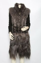 GUCCI MINK FOX GOAT Fur Cashmere Jacket Coat 38 US 4 S