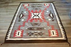 ORIGINAL REAL Navajo Storm Blanket Textile Wool Rug Weave 84 Inches x 51 Inches