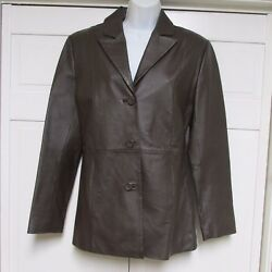 Clio Brown Leather Short Jacket Size 8 $19.99