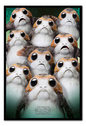 Star Wars The Last Jedi Many Porgs Poster Framed Cork Pin Board With Pins