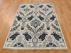5'x7' Hand-Knotted Pure Wool Arts and Crafts Design Peshawar Oriental Rug R37370