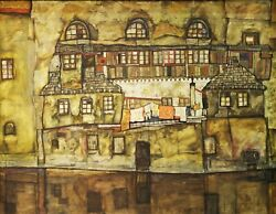 House Wall on the River By Egon Schiele Giclee Fine Art Reproduction on Canvas $59.95
