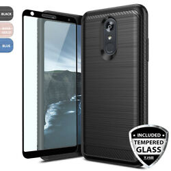 For LG Stylo 54Plus Brushed Armor Rubber Hard Phone Case+Black Tempered Glass