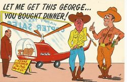 Rich Texan Trading Helicopter For Dinner Comic Postcard 1950s $3.99