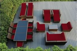 Outdoor Patio Wicker furniture Sofa + Dining 20 PC set - Sunbrella Red wMB