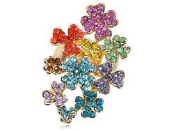 Rainbow Colorful Clustered  Crystal Rhinestone Floral Flower Sized VTG Ring