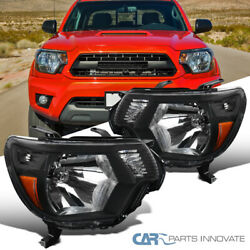 For Toyota 12-15 Tacoma Replacement Black Headlights Driving Head Lamps Pair