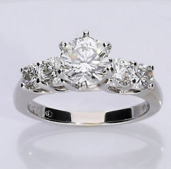 Diamond engagement ring 18K white gold 1.50CT center 5 round brilliants 2.40CTW