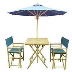Zew 4 Piece Bamboo Bistro Garden Set with Square Table 2 Treated Director Canv