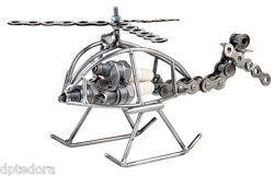 Spark Plug Helicopter Large Hand Crafted Recycled Metal Art Sculpture Figurine $29.95