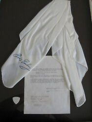 Elvis Presley Concert Used Guitar Pick and Scarf with 1990 Notarized Letter