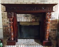 Gorgeous Baroque Solid Mahogany Wood Fireplace Mantel Surround - EXCELLENT