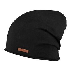 Barts James Beanie Fine Knitted Cleaner Hat Oversized Look Unisex Black