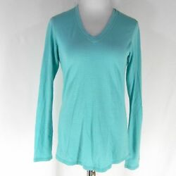 SMARTWOOL Microweight V Neck Top M Baselayer Shirt Mineral Pointelle Merino Wool