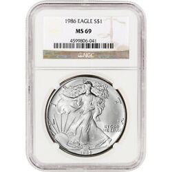 1986 American Silver Eagle - NGC MS69 $61.60