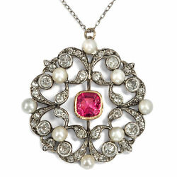 Pinker Spinel Diamonds & Nature Beads: Large Pendant of the Belle Époque