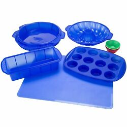 18 Piece Silicone Bakeware Set Loaf Pan CupCake Blue $23.99