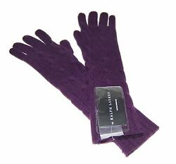 Polo Ralph Lauren Black Label Womens Cable Cashmere Long Knit Gloves Purple XSS