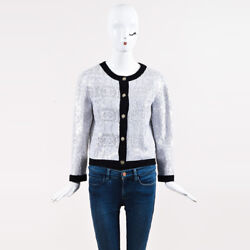 Chanel Spring 2008 White & Black Cashmere 'CC' Sequined Buttoned Cardigan SZ 42