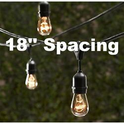 18 Bulbs Vintage Patio String Lights Edison Bulbs 18'' spacing - 25.5' Long