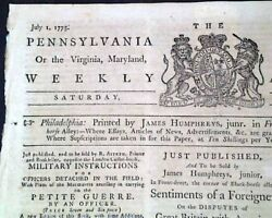 Historic & Rare BATTLE OF BUNKER HILL Revolutionary War 1775 American Newspaper