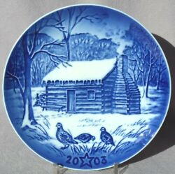 BING & GRONDAHL 2003 Christmas Heritage Plate B&G Lincoln's Cabin Mint in Box