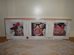 3 pc. FarmhouseRusticPrimitive Decor Animal Pictures-Cow-Sheep-Pig-She Sheds