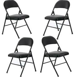 New 4 Pack Folding Chairs Fabric Upholstered Padded Seat Metal Frame Home Office $63.59