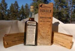 Original MID WESTERN antique labeled PAIN BALM patent medicine bottle IN BOX $99.99