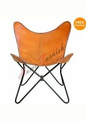 Vintage Look Leather Butterfly Chair Folding Lounge Modern Sling Accent Seat